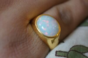 Sterling Silver Ring Opal Gemstone 925 Fine Gold Plated Handmade Ring 10x12MM