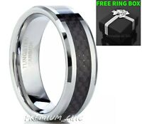 Tungsten Carbide Wedding Band Men's Engagement Ring Black Carbon Fiber Silver