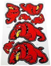 Stickers Red Bull Dog,2 Large 2 Medium & 3 Small