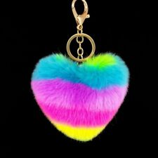 Novelty Rainbow Heart KeyChain Bag Hang Plush Toy Pendant Pop Pom Keyring