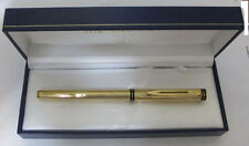 WATERMAN EXCLUSIVE GOLD PLATED FOUNTAIN PEN 18K GOLD FINE  PT  NIB NEW IN BOX