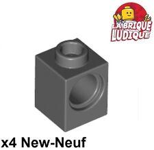 Lego Technic - 4x Brique Brick 1x1 hole gris foncé/dark bluish gray 6541 NEUF