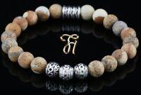 Landschafts Jaspis Armband Bracelet Perlenarmband Silber Beads Buddha 8mm