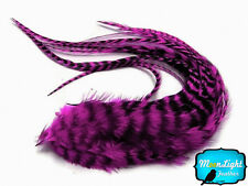 6 Pieces - MAGENTA Thick Long Grizzly Rooster Hair Extension Feathers