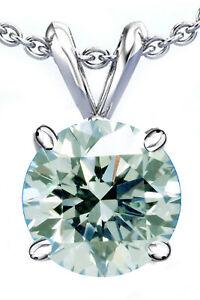 1.02 Ct Vvs1'White Ice Blue Round Moissanite Diamond Solitaire Silver Pendant