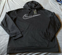 Men's XXL black on black And White Label Nike dry fit Pull Over hoodie NWT