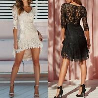 New Women Summer Lace Long Sleeve V Neck Party Evening Cocktail Short Mini Dress