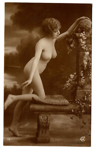 Original Old French PHOTO Postcard nude voluptuous beauty girl CA 119 France