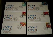 U.N. 1996, SPORT AND THE  ENVIRONMENT, SINGLES ON FDCs, 3 OFFICES,NICE! LQQK!
