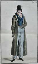 COSTUME PARISIEN GRAVURE ORIGINALE DE 1818 , COLORIS D'EPOQUE,  N°1712