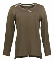 Isaac Mizrahi Live! Women's Sz S Pima Cotton Hi-Low Hem Knit Top Brown A389762