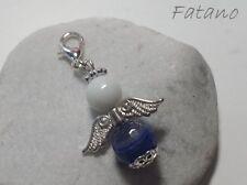 Schutzengel Engel blau Halbedelstein Charm Anhänger Bettelarmband Charms 3024