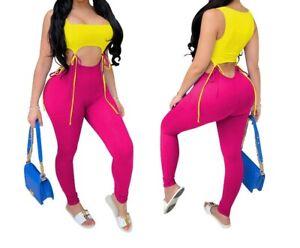 New Women 2PC Set Sleeveless Skinny Top+LeggingPants Cut Out Matching Set #R25