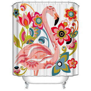 Flamingo Shower Curtain Pink Tropical Flowers Colorful Florida Bird Teal White