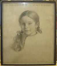 Otis Philbrick 1919 Boston School Portrait of Young Girl Noted Artist Printmaker