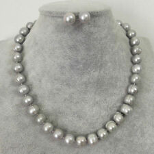 9-10mm Genuine Natural Gray Freshwater Cultured Pearl Necklace Earring PN1650
