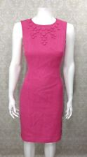 Talbots Womens Linen Career Sheath Dress Sz. 4 Pink Embellished Sleeveless