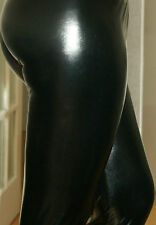 SEXY BLACK STRETCHY HIGH WAIST SHINY RUBBER FEEL WET LOOK LEGGINGS  8-22