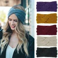 Ladies Elastic Crochet Knitted Wool Ear Warmer Cross Headband Headwrap Hairband