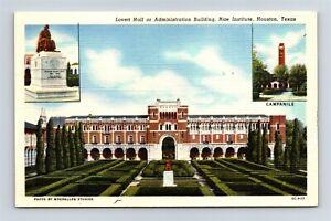Postcard TX Houston Texas Rice Institute Lovett Hall c1950s Vintage Linen AB19