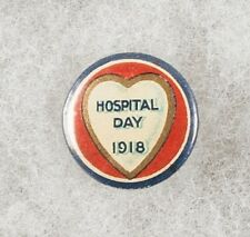 World War One Australia Hospital Day 1918 Heart Pinback Button Badge - scarce