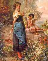 The Love Offering by Hans Zatzka Art Garden Fantasy Flower Bird  8x10 Print 1054