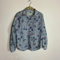 Vintage Womens Shirt Top Blouse Button Down Floral Blue Striped Size Small