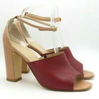 Hobbs Ladies Shoes Sandals Size 7 40 Oxblood Pink Leather Ankle Strap Peep Toe