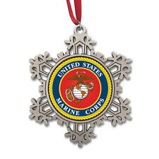 USMC Pewter Snowflake Ornament USMCOR205. Made in USA.