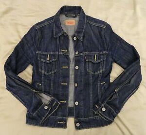 Womens Vintage Levis Levi Strauss Denim Trucker Jacket Small, Dark Blue