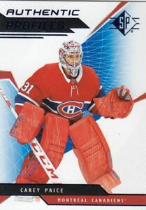 CAREY PRICE NO:AP-CP AUTHENTIC PROFILES in UPPER DECK SP HOCKEY 2018-19   a