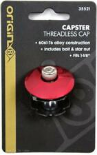 """Origin8 Capster 1-1/8"""" Threadless Bike Headset Top Cap w/ Bolt & Star Nut - Red"""