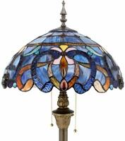 Floor Lamp with Ornate Blue Stained Glass Lampshade