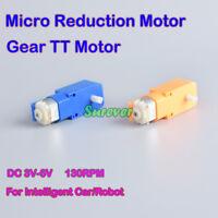 DC 3V 5V 6V 130RPM Slow Speed Reducer Micro Mini TT-130 Gear Motor DIY Car Robot