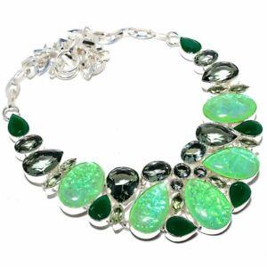 """Australian Triplet Fire Opal, Emerald 925 Sterling Silver Necklace 16-18""""T2772"""