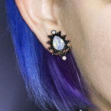 Moon Stone Ear Tunnel Antique Silver Tear Drop Ear Plug Double Flared Opalite