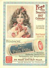 Dr. Miles' Anti Pain Pills  -  Pretty Girl  -  Calendar Advertisement  -  1906