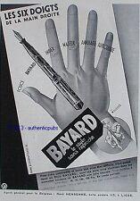 PUBLICITE BAYARD LE STYLO SANS REPROCHE 6 DOIGTS DE LA MAIN CHEVALIER DE 1933 AD