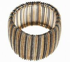 "Tri-Color Textured  Link Stretch Bracelet 1-3/4"" Wide QVC"