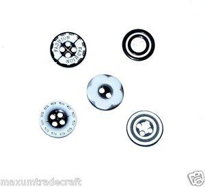 50pcs/bag  white & black round resin button in various designs