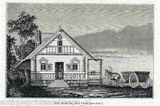 Antique print Sitka, Alaska New Archangel 1845 house Baranof Island