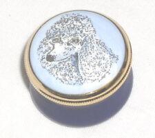 Staffordshire White Poodle Dog Small Enamel Pill Box