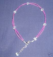 DELICATE PINK  BEADED TWIST ANKLET WITH OPALESCENT BEAD