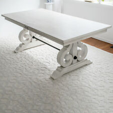 Wood Trestle Dining Table Extendable Butterfly Leaf White Distressed