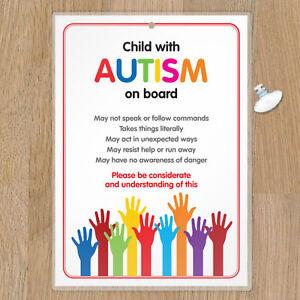 Autism Car Sign - ADHD SEN Autism Awareness Sign for Emergency Services - HANC