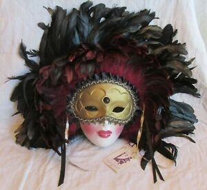 Fabulous Clay Art Mask Quill Feathers San Francisco Original Tag