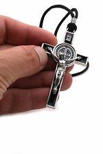 "3"" St Benedict Crucifix Cross Catholic Necklace Black Enamel Men & Women On Cord"