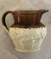Antique English Salt Glazed Stoneware Tavern Jug Pitcher Grapevine 1800s