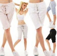 Italy Mujer Shorts Bermudas Baggy Corto Pantalón Chino Stretch Adorno Tira 36-40