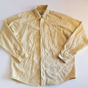 R. Logan & Sons Men Size L Button Front Shirt Yellow Made in New Zealand  -SB18